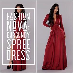 Fashion Nova: Spree Dress - Burgundy